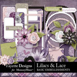 Lilacs and Lace Basic Embellishments-$3.99 (Fayette Designs)