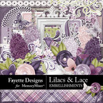 Lilacs and Lace Embellishments Pack-$3.15 (Fayette Designs)
