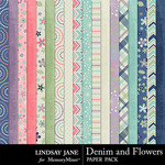Denim and Flowers Paper Pack-$2.49 (Lindsay Jane)