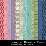 Denim and Flowers Glitter Paper Pack-$1.99 (Lindsay Jane)