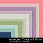 Denim and Flowers Embossed Paper-$1.99 (Lindsay Jane)