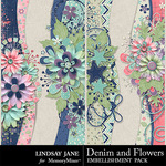 Denim and Flowers Borders Pack-$1.40 (Lindsay Jane)