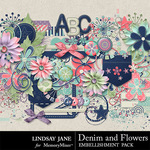 Denim and Flowers Embellishments-$3.49 (Lindsay Jane)