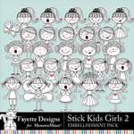 Stick Kids Girls 2 Embellishments-$4.99 (Fayette Designs)