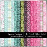 He Said She Said Patterned Paper Pack-$3.99 (Fayette Designs)