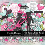 He Said She Said Embellishment Pack-$4.99 (Fayette Designs)