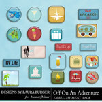 Off On An Adventure Flairs Pack-$3.99 (Laura Burger)
