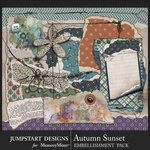 Autumn Sunset Torn Bits Embellishments-$3.99 (Jumpstart Designs)
