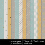 Days of Christmas Glitter Paper Pack-$1.99 (Lindsay Jane)