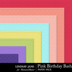 Pink Birthday Bash Embossed Paper Pack-$1.40 (Lindsay Jane)