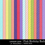 Pink Birthday Bash Glitter Paper Pack-$1.99 (Lindsay Jane)