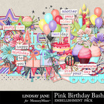 Pink Birthday Bash Embellishment Pack-$2.45 (Lindsay Jane)