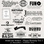 Happy Birthday Vol 1 WordArt Pack-$2.49 (Word Art World)