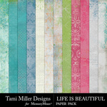 Life is Beautiful Shabby Paper Pack-$1.50 (Tami Miller)