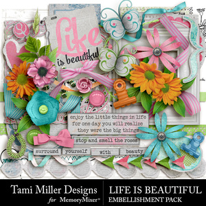 Life is beautiful embellishments medium