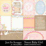 Sweet Baby Girl JSS Pocket Cards Pack-$1.99 (Just So Scrappy)
