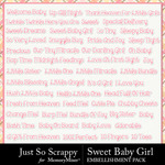 Sweet baby girl word stickers small