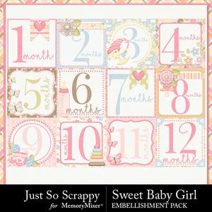 Sweet baby girl number pocket cards medium