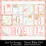 Sweet Baby Girl JSS Number Cards Pack-$1.99 (Just So Scrappy)