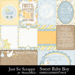 Sweet Baby Boy JSS Pocket Cards Pack-$1.99 (Just So Scrappy)