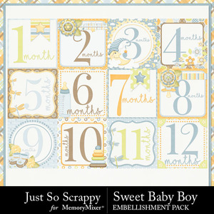 Sweet baby boy pocket number cards medium