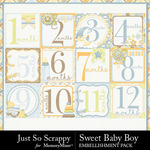 Sweet baby boy pocket number cards small