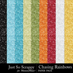 Chasing Rainbows Glitter Paper Pack-$1.99 (Just So Scrappy)