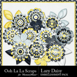 Lazy Daisy Layered Flowers Pack-$1.00 (Ooh La La Scraps)
