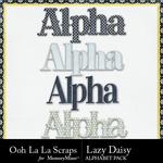 Lazy daisy alphabets small
