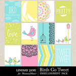 Birds Go Tweet Journal Cards Pack-$1.99 (Lindsay Jane)