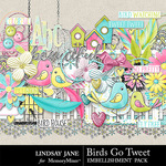 Birds Go Tweet Embellishment Pack-$3.49 (Lindsay Jane)