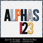Heroes in blue alphabets small