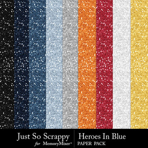 Heroes in blue glitter papers medium