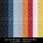 Heroes in blue glitter papers small