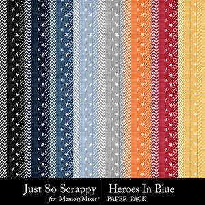 Heroes in blue pattern papers medium