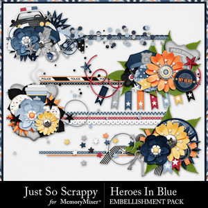 Heroes in blue cluster stitches medium