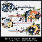 Heroes In Blue Cluster Stitches-$1.99 (Just So Scrappy)