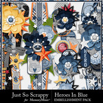 Heroes In Blue Page Borders-$1.99 (Just So Scrappy)