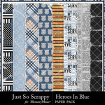 Heroes In Blue Worn Papers-$1.99 (Just So Scrappy)
