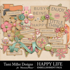 Happy life embellishments medium
