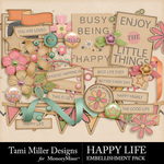 Happy life embellishments small