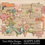 Happy Life Embellishment Pack-$3.99 (Tami Miller)