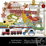 Planes Trains and Cars Embellishment Pack-$3.50 (Julie Klaus)