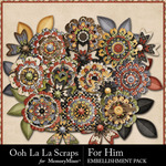 For Him Flowers Pack-$1.99 (Ooh La La Scraps)