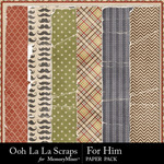 For Him Worn Paper Pack-$1.99 (Ooh La La Scraps)