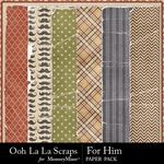 For Him Worn Paper Pack-$1.99 (Ooh La La Scraps)