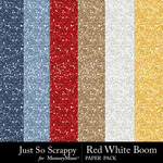 Red White Boom Glitter Papers-$1.99 (Just So Scrappy)
