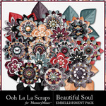 Beautiful Soul Layered Flowers-$1.99 (Ooh La La Scraps)