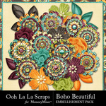 Boho Beautiful OLL Layered Flowers-$1.99 (Ooh La La Scraps)