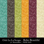 Boho Beautiful OLL Glitter Paper Pack-$1.99 (Ooh La La Scraps)